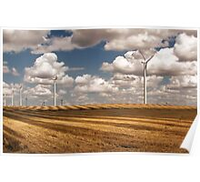 Wind Turbines on a Checkerboard Landscape Poster