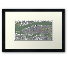 New York  city map vintage Framed Print
