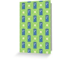 Police Box and Daisies pattern Greeting Card