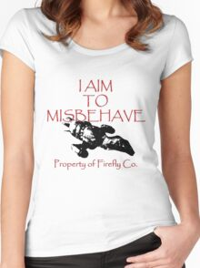 Aim to Misbehave Black and White Women's Fitted Scoop T-Shirt