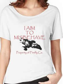 Aim to Misbehave Black and White Women's Relaxed Fit T-Shirt