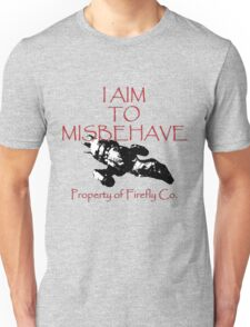 Aim to Misbehave Black and White Unisex T-Shirt