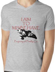 Aim to Misbehave Black and White Mens V-Neck T-Shirt