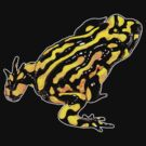 Corroboree frog tee black on black by Laura Grogan