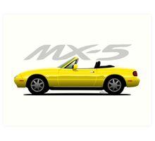 Mazda MX-5 yellow Art Print