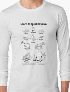 Learn to Speak Ciyawo (white animals, black text) Long Sleeve T-Shirt