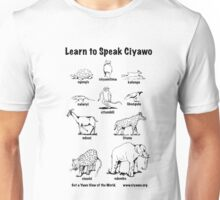 Learn to Speak Ciyawo (white animals, black text) Unisex T-Shirt