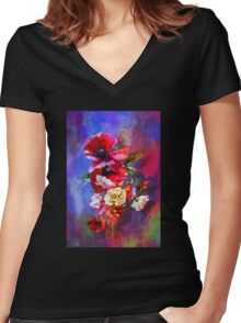 Poppies. Women's Fitted V-Neck T-Shirt