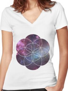 Cosmic Seed of Life Women's Fitted V-Neck T-Shirt