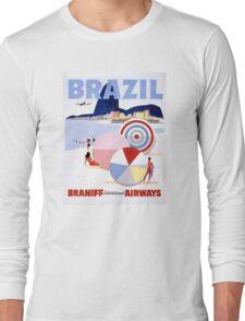 Brazil Vintage Travel Poster Restored Long Sleeve T-Shirt