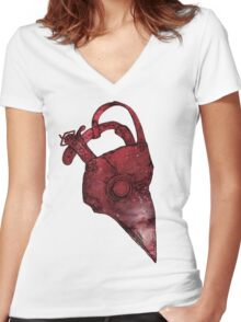 Plague Doctor Mask Women's Fitted V-Neck T-Shirt