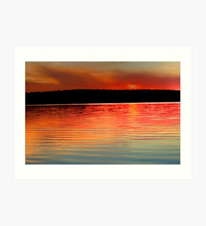 sunset over the dam Art Print