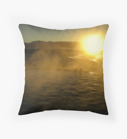 Hot Springs At Sunrise Throw Pillow