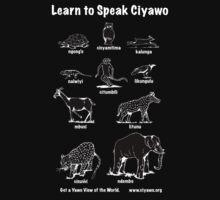 Learn to Speak Ciyawo (black animals white text) Kids Tee