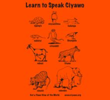 Learn to Speak Ciyawo (black outline only) Kids Clothes