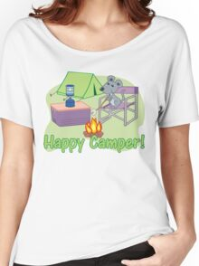 Happy Camper! Mouse Roasting Marshmallows Women's Relaxed Fit T-Shirt