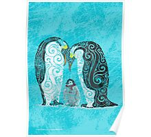 Swirly Penguin Family Poster