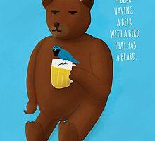 Bear, beer, bird, beard by doodleduck
