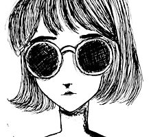 Retro Black and White Sunglasses Girl by fayeemily