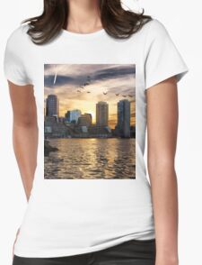 Boston Harbor at Sunset Womens Fitted T-Shirt