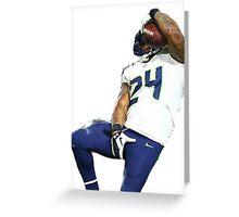 Seahawks Marshawn Lynch Nut Grab Greeting Card