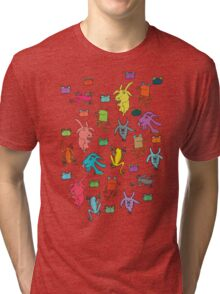 pattern with goats and frogs Tri-blend T-Shirt