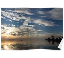 Paddling on the Early Morning Mirror Poster