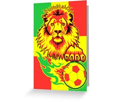 African Soccer Lion Poster Greeting Card