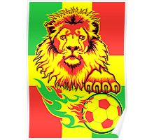 African Soccer Lion Poster Poster