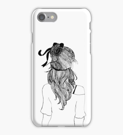 Black and White Girl with Ribbon iPhone Case/Skin