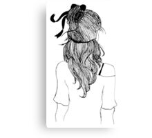 Black and White Girl with Ribbon Canvas Print