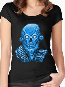 Blue Zombie Skull Head Women's Fitted Scoop T-Shirt