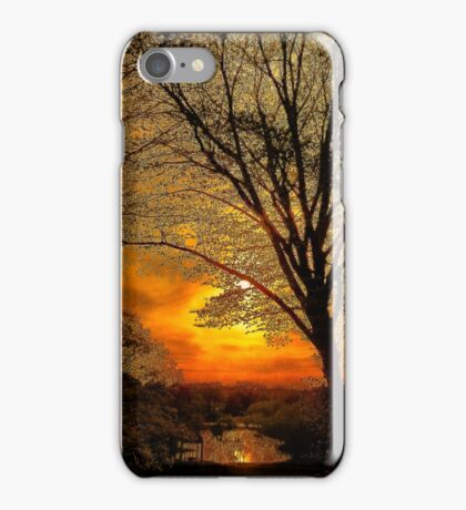 Sunset over Larz Anderson Park iPhone Case/Skin