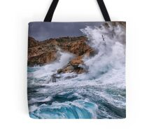Gale with huge waves crashing Tote Bag