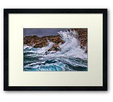 Gale with huge waves crashing Framed Print