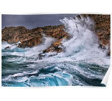 Gale with huge waves crashing Poster