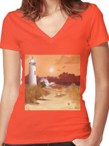Lighthouse on the Coast Women's Fitted V-Neck T-Shirt
