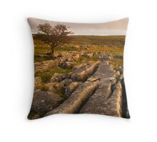 Limestone Pavement, Upper Winskill, Ribblesdale, Yorkshire Dales Throw Pillow