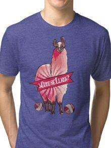 Custom color funny llama yarn knitting crochet Tri-blend T-Shirt