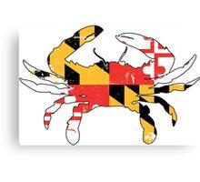 Maryland Flag Crab - Distressed Canvas Print