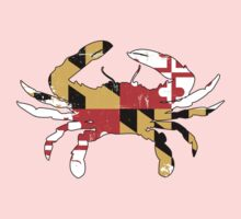 Maryland Flag Crab - Distressed One Piece - Long Sleeve
