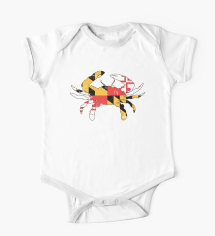 Maryland Flag Crab - Distressed One Piece - Short Sleeve