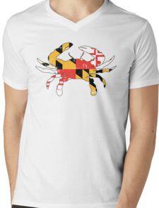 Maryland Flag Crab - Distressed Mens V-Neck T-Shirt