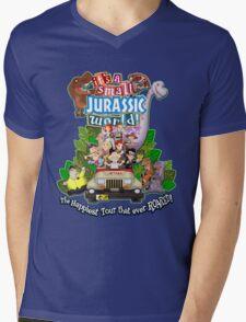It's a Small Jurassic World (1A) Mens V-Neck T-Shirt
