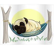 Pug in a Hammock Poster
