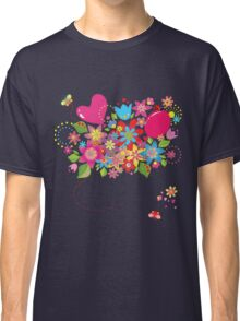 Colorful floral pattern with balloon and heart Classic T-Shirt