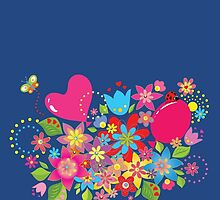 Colorful floral pattern with balloon and heart by Olga Chetverikova