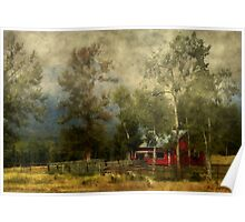 Storm Approaching White Birch Cottage Poster