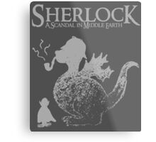 Sherlock: A Scandal in Middle-earth (Grey) Metal Print