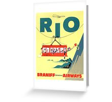 Rio Vintage Travel Poster Restored Greeting Card